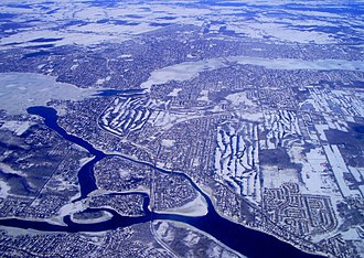 Îles Laval - Almost centered on the Îles Laval area, with the train route running through the centre. Île-Bizard and the Lake of Two Mountains are on the left, Montreal Island on the bottom across the Rivière des Prairies, Laval Island to the right across the Rivière des Prairies, and the North Shore of Montreal across the Rivière des Mille Îles north of Laval Island