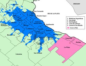 Cocoliche - In blue color, the Gran Buenos Aires where Cocoliche developed