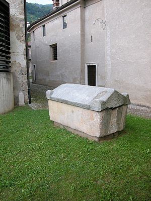 Agno, Ticino - Etruscan tomb located in the churchyard of S. Giovanni Battistat