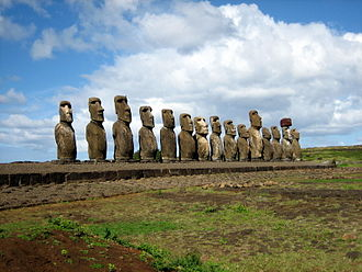 Societal collapse - Ahu Tongariki near Rano Raraku, a 15-moai ahu excavated and restored in the 1990s