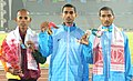 Ajay Kumar Saroj of India won Gold Medal, Sanjeewa Lakmal of Sri Lanka won Silver Medal and Rahul of India won Bronze Medal in Men's 1500m Run in Athletics, at 12th South Asian Games-2016, in Guwahati on February 11, 2016.jpg