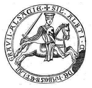 Sophie, Duchess of Hohenberg - Seal of Albert IV, Count of Habsburg, mutual ancestor of Sophie and Franz Ferdinand.
