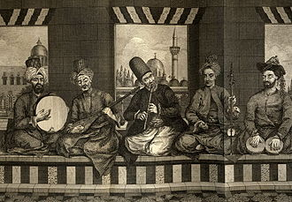 Daf - Musicians in Aleppo, Syria, the Musician on the far left using the daf.