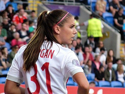 Morgan with Lyon during the Women's Champions League Final, June 2017 Alex Morgan WCL 2017.jpg