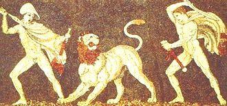 Craterus - Alexander and Craterus in a lion hunt, mosaic in Pella