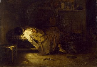 In this painting by Alexandre-Gabriel Decamps, the palette, pistol, and note lying on the floor suggest that the event has just taken place; an artist has taken his own life Alexandre-Gabriel Decamps - The Suicide - Walters 3742.jpg