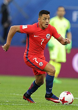 Alexis med Chile under Confederations Cup 2017.