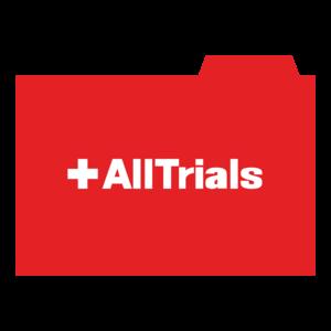 an office folder showing the AllTrials wordmark