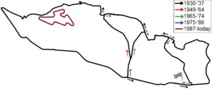 Masaryk Circuit - All layouts of the Masaryk Circuit (Brno Circuit) between 1930 and today combined