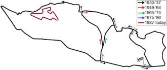 1935 Czechoslovakian Grand Prix - All layouts of the Masaryk Circuit (Brno Circuit) between 1930 and today combined