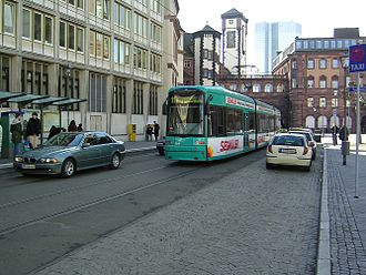 Public transport in Frankfurt am Main - A Flexity Classic tram in the older part of the city centre