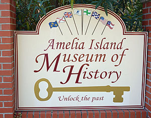 Fernandina Beach, Florida - History Museum sign showing the eight flags