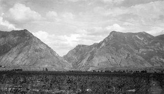 Utah Lake - Wasatch Mountains and ancient shoreline of Lake Bonneville