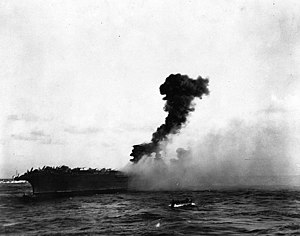 Amidships explosion aboard USS Lexington (CV-2), 8 May 1942 (80-G-7406).jpg