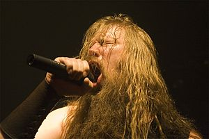 Amon Amarth - Johan Hegg, frontman of Amon Amarth performing 21 July 2009