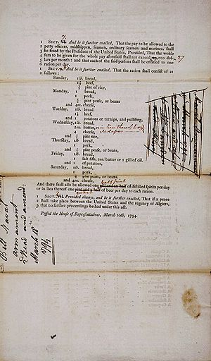 Naval Act of 1794 - Page two of the Act to Provide a Naval Armament