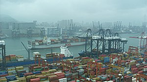 Orient Overseas Container Line - An OOCL vessel passing by CT9 (Container Terminal 9) in Hong Kong