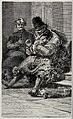 An old beggar in very tattered old clothes is sitting on a s Wellcome V0020395.jpg