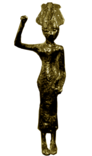 Anat - Bronze figurine of Anat wearing an atef crown with arm raised (originally holding an axe or club), dated to 1400–1200 BC, found in Syria