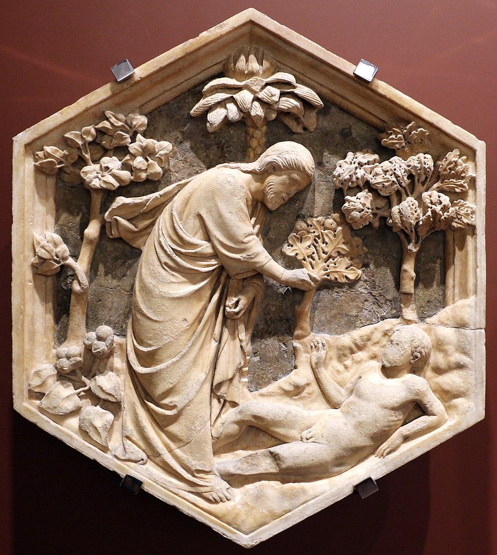 Andrea pisano, creazione di adamo, 1334-43, dal lato ovest del campanile 01
