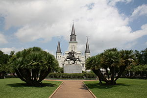 Jackson Square (New Orleans) - Jackson Square, with Jackson's statue at center, and Saint Louis Cathedral