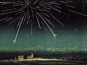 Biela's Comet - The Andromedid or Bielid meteors as seen on the night of November 27, 1872.