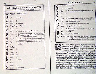 Glagolitic script - In a book printed in 1591, Angelo Rocca attributed the Glagolitic script to Saint Jerome.