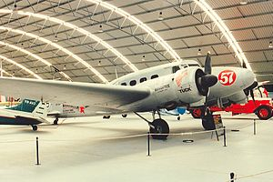"Aircraft in fiction - This Avro Anson was used in the Australian television miniseries The Great Air Race as a ""stand-in"" to represent the Boeing 247 flown by Roscoe Turner in the MacRobertson Air Race."