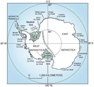 East Antarctic Ice Sheet - Map of Antarctica