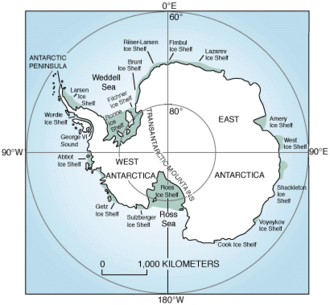 Climate of Antarctica - Antarctic ice shelves, 1998