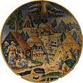 Antoine Conrade ou Nicolas Estienne - Plat - La pluie de cailles dans le désert (majolique, 1640-1645, Nevers ou Lyon) - détouré.jpg