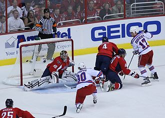 Nik Antropov - Antropov scores in the 2009 playoffs while a member of the New York Rangers.