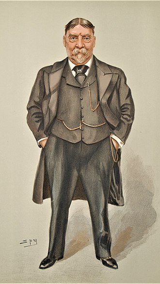 """Archibald Lucius Douglas - """"North America and West Indies"""" Douglas as caricatured by Spy (Leslie Ward) in Vanity Fair, July 1902"""