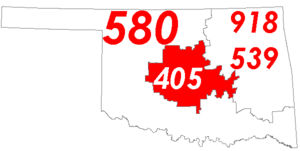 Area code 405 - Map of Oklahoma with area code 405 in Red