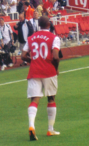 Armand Traoré - Traoré during a football match at Emirates Stadium in 2008.