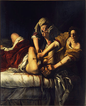 Judith beheading Holofernes - Judith slaying Holofernes by Artemisia Gentileschi, 1614–18
