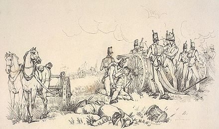 """The artillery officers had the range so accurately, that every shot and shell fell into the very centre of their masses"" (Original inscription and drawing after George Jones). Artillery in Battle of Waterloo by Jones.jpg"