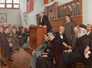 Et foredrag i Dagmarssalen, Askov Højskole 1903