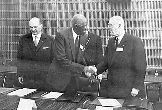 Lamine Guèye - Lamine Guèye (pictured centre) at a meeting of Assemblée parlementaire de la Francophonie in 1967