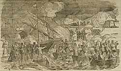 Desarrollo del ataque al puente de Luchana por las tropas de Espartero con el apoyo de la armada británica y española. Grabado, reproducido como xilografía en Panorama Español, 1849