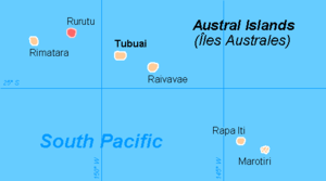 Rurutu - Image: Austral Islands map highlighting Rurutu