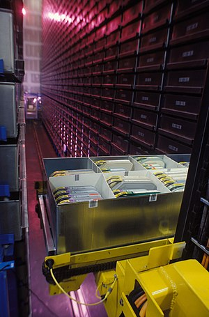 Automated storage and retrieval system - The inside of an ASRS at the Defense Visual Information Center, used for the storage of media items such as film canisters.