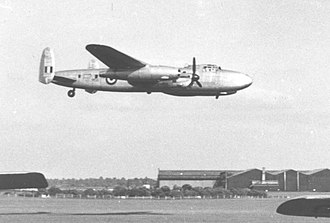 Avro Lancastrian - Avro Sapphire Lancastrian testbed demonstrating on its two jets with its Merlins feathered at Coventry Airport in June 1954