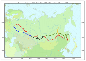 "Baikal–Amur Mainline - Map of major railways in Russia, with Trans Siberian Railway shown in red, the Baikal-Amur Mainline in green and the Amur–Yakutsk Mainline (including ""Little BAM"") shown in orange"