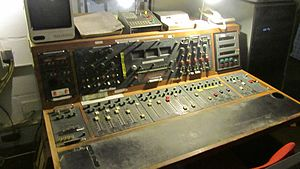 Wartime Broadcasting Service - BBC mixing desk at Hack Green Secret Nuclear Bunker.
