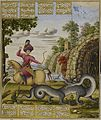 Bahram Gur kills the dragon. Painting by Muhammad Zaman.jpg