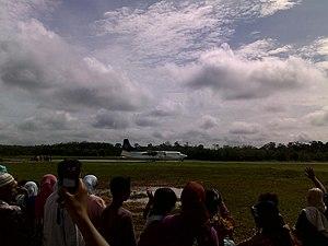 Tuanku Tambusai Airport - Riau Airlines Fokker 50 at Tuanku Tambusai Airport