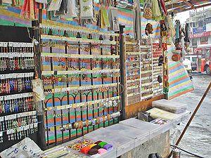 Linking Road, Mumbai -  Roadside pavement shops at Bandra Linking road.