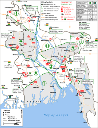 Military map of Bangladesh in November 1971