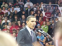 Barack Obama addresses a full Kohl Center during his rally Tuesday night in Madison.